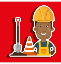 Man shovel warning construction vector