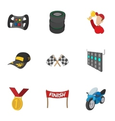 Racing and competition icons set cartoon style vector