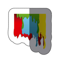 Sticker artistic paint colorful dripping design vector