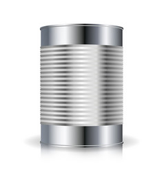Metallic cans  food tincan ribbed metal tin vector