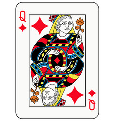 Queen of diamonds french version vector