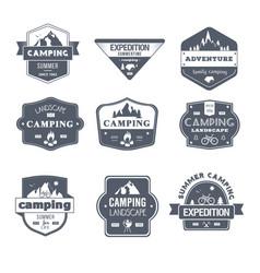 camping activity - vintage set of logos vector image