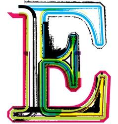 Grunge colorful font Letter E vector image