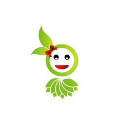 Happy smiley with green leaves vector