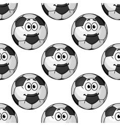 Seamless pattern of cartoon soccer balls or vector image