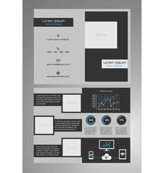Business bifold brochure template dark grey vector