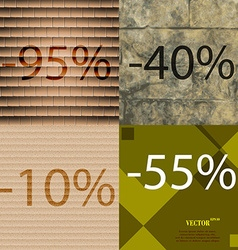 40 10 55 icon set of percent discount on abstract vector