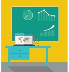 Blackboard with hand drawn growing bar graph vector image