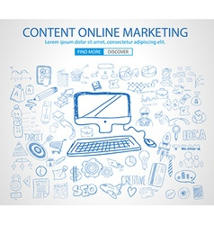 Online Marketing with Doodle design style vector image