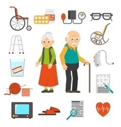 Aging people accessories flat icons set vector
