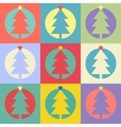 Christmas or happy new year tree flat design icon vector