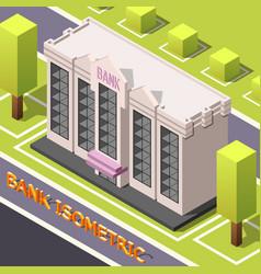 Bank headquarters isometric background vector