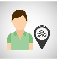 bicycle road pin location man design vector image
