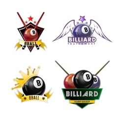 Billiards pool and snooker sport logos set vector image vector image