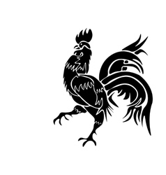 Black rooster on white background vector image vector image
