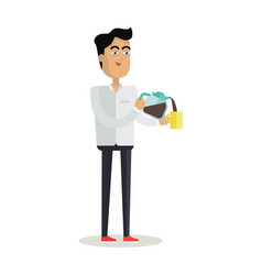 Business man with coffee maker and cup vector