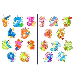 Cartoon childish numbers and digits vector