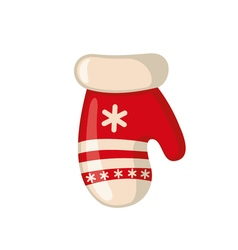 Christmas mitten icon in flat style vector