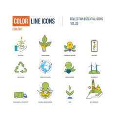 Color thin line icons set ecology green energy vector
