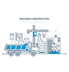 construction houses buildings construction sites vector image