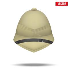 Cork helmet hat for safari or explorer vector
