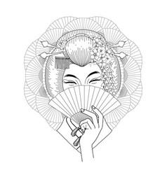 cute asian girl vector image vector image