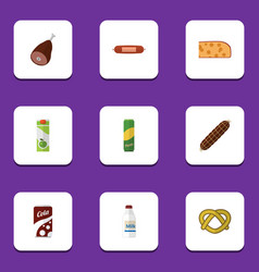 Flat icon eating set of fizzy drink cheddar slice vector