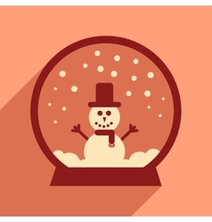 Flat icon with long shadow snowman snow globe vector