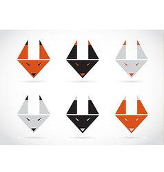 Fox face icons set vector