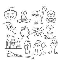 halloween icons in flat style vector image vector image