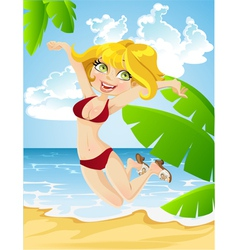 happy girl on beach vector image vector image