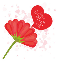 happy moms day flower and heart style vector image