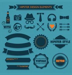 hipster male design elements set on blue dotted vector image