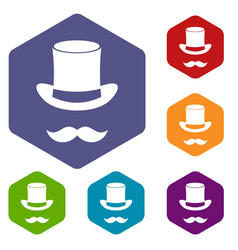 magic black hat and mustache icons set vector image