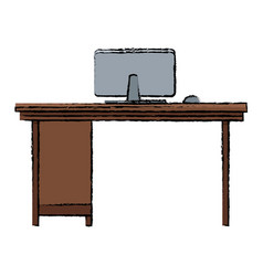 Office desk computer workspace furniture vector