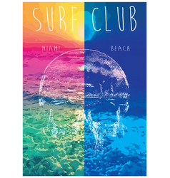 On the theme of surf and surf club miami grunge vector