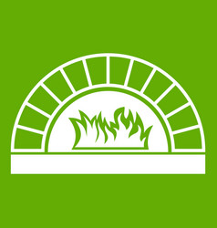 pizza oven with fire icon green vector image