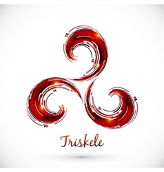 Red abstract triskele symbol vector