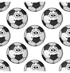 Seamless pattern of cartoon soccer balls or vector image