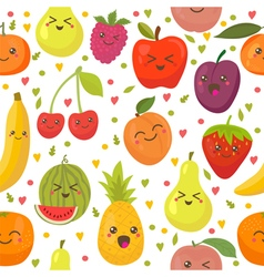 Seamless pattern with happy fruits Cute background vector image