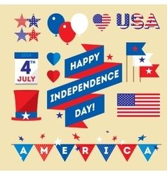 Set design elements for USA Independence Day vector image vector image