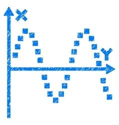 Sine plot grainy texture icon vector