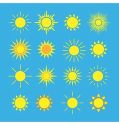 Sun icons set blue vector