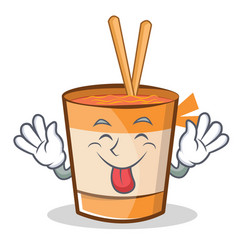 Tongue out cup noodles character cartoon vector