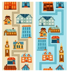 Town seamless patterns with cute colorful houses vector image vector image
