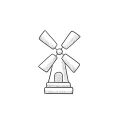 Windmill sketch icon vector