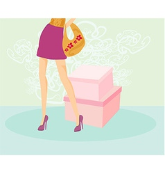 women legs and handbag vector image