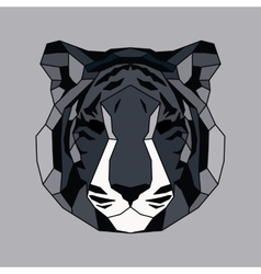 Gray lined low poly tiger vector