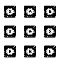 Money of countries icons set grunge style vector