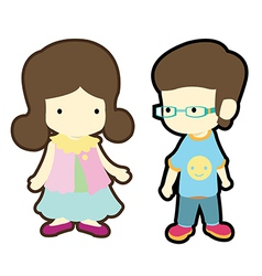 Cute boy and girl in casual style cloth fashion vector image